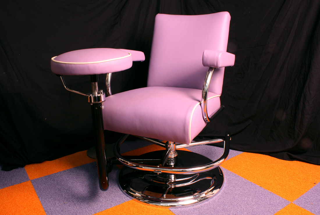 Vintage Barber Chair   Pink Leather