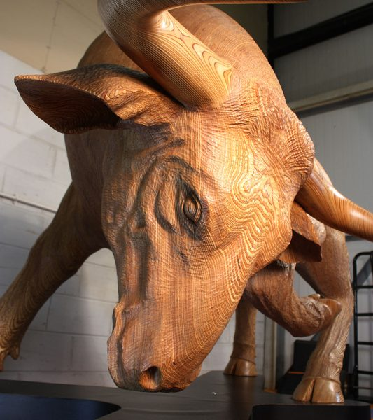 Life Sized Bull Carving